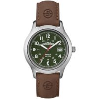 Timex® Expedition® Men's 39mm Field Green Dial Watch in Silvertone w/Brown Leather Strap