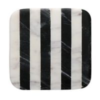 Thirstystone® Striped Marble Single Square Coaster in Black and White