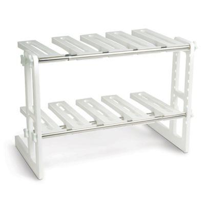 Superbe IdeaWorks Adjustable Under Sink Shelf In White/Silver