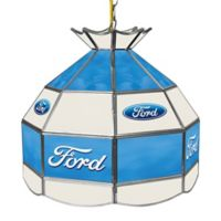 Ford Logo Stained Glass Pendant Billiard Lamp in Blue/White