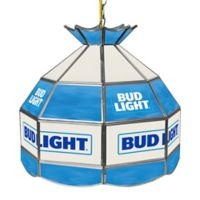 Bud Light® Stained Glass Pendant Billiard Lamp in Blue/White