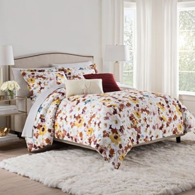 Isaac Mizrahi Home Addie Comforter Set In Burgundy/White