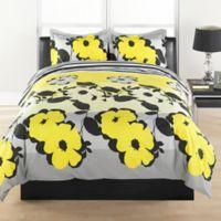 Flower Stripe Reversible Full/Queen Duvet Cover Set in Yellow/Grey