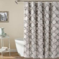 Lush Decor 72-Inch x 72-Inch Ruffle Diamond Shower Curtain in Grey