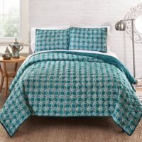 Amrita Sen Cotton Voile Reversible Queen Quilt in Turquoise