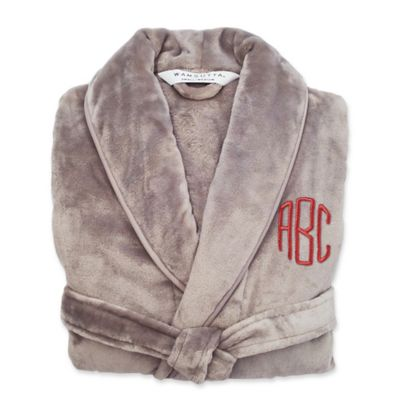 Buy personalized gifts from bed bath beyond wamsutta largex large personalized plush robe in grey negle Gallery