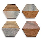 Thirstystone® Hexagon Marble and Acacia Wood Coasters in Pink (Set of 4)