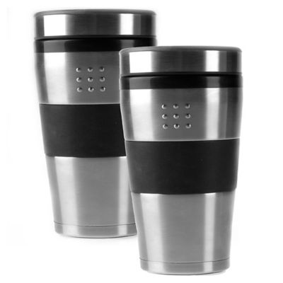 orion travel mugs in silver set of 2 - Coffee Travel Mugs