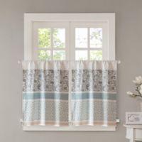 Madison Park Dawn 36-Inch Kitchen Window Curtain Tier Pair in Blue
