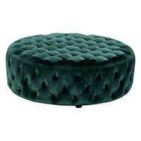 Pangea Home Jasper Hand-Tufted Round Velvet Ottoman in Green
