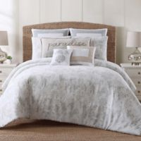 Tropical Plantation Toile Full/Queen Comforter Set in Grey/White