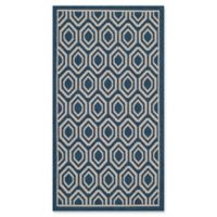 Safavieh Courtyard 2-Foot 7-Inch x 5-Foot Lauryn Indoor/Outdoor Rug in Navy/Beige