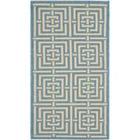 Safavieh Courtyard 2-Foot 7-Inch x 5-Foot Samara Indoor/Outdoor Rug in Blue/Bone