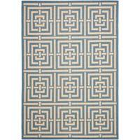 Safavieh Courtyard 4-Foot x 5-Foot 7-Inch Samara Indoor/Outdoor Rug in Blue/Bone