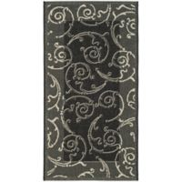 Safavieh Courtyard 2-Foot 7-Inch x 5-Foot Luna Indoor/Outdoor Rug in Black/Sand