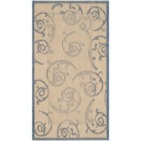 Safavieh Courtyard 2-Foot 7-Inch x 5-Foot Luna Indoor/Outdoor Rug in Natural/Blue
