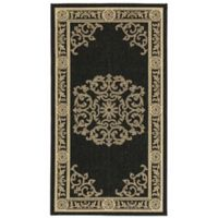 Safavieh Courtyard 2-Foot 7-Inch x 5-Foot Laila Indoor/Outdoor Rug in Black/Sand