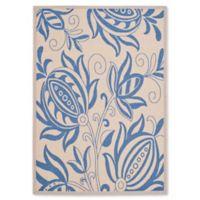 Safavieh Courtyard 4-Foot x 5-Foot 7-Inch Reese Indoor/Outdoor Rug in Natural/Blue