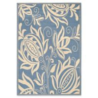Safavieh Courtyard 4-Foot x 5-Foot 7-Inch Reese Indoor/Outdoor Rug in Blue/Natural