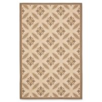 Safavieh Courtyard 6-Foot 7-Inch x 9-Foot 6-Inch Paola Indoor/Outdoor Rug in Beige/Dark Beige
