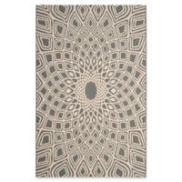 Safavieh Courtyard 2-Foot 7-Inch x 5-Foot Lacey Indoor/Outdoor Rug in Anthracite/Beige