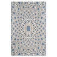 Safavieh Courtyard 6-Foot 7-Inch x 9-Foot 6-Inch Lacey Indoor/Outdoor Rug in Blue/Beige