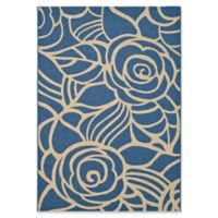 Safavieh Courtyard 4-Foot x 5-Foot 7-Inch Sawyer Indoor/Outdoor Rug in Blue/Beige