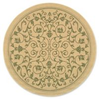 Safavieh Courtyard 5-Foot 3-Inch x 5-Foot 3-Inch Lydia Indoor/Outdoor Rug in Natural/Olive
