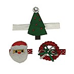 So'dorable 3-Piece Christmas Santa Headband and Clip Set in Green/Red