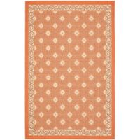 Safavieh Courtyard 4-Foot x 5-Foot 7-Inch Liv Indoor/Outdoor Rug in Terracotta/Cream