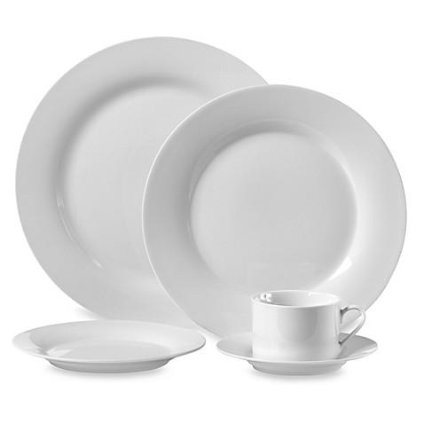 Round Porcelain 45 Piece Dinnerware Set In White Bed