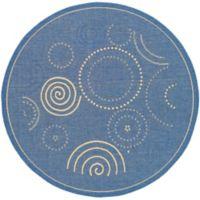 Safavieh Courtyard 5-Foot 3-Inch x 5-Foot 3-Inch Hazel Indoor/Outdoor Rug in Blue/Natural