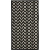 Safavieh Courtyard 4-Foot x 5-Foot 7-Inch Anika Indoor/Outdoor Rug in Black/Beige