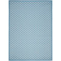 Safavieh Courtyard 8-Foot x 11-Foot Anika Indoor/Outdoor Rug in Blue/Beige