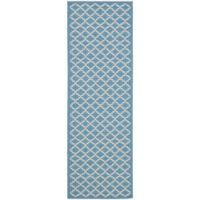 Safavieh Courtyard 2-Foot 3-Inch x 8-Foot Anika Indoor/Outdoor Rug in Blue/Beige