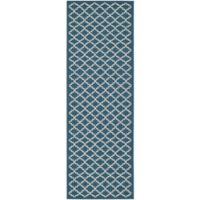 Safavieh Courtyard 2-Foot 3-Inch x 22-Foot Anika Indoor/Outdoor Rug in Navy/Beige