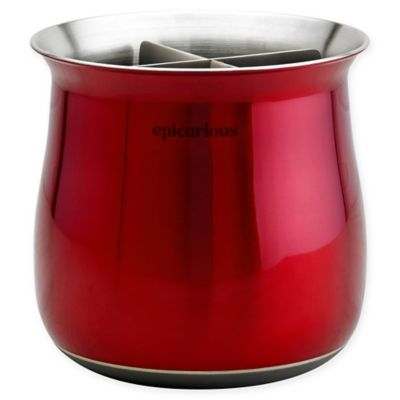 Epicurious Stainless Steel Utensil Holder With Divider Insert In Red
