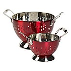 Epicurious 2-Piece Stainless Steel Colander Set in Red