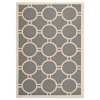 Safavieh Courtyard 4-Foot x 5-Foot 7-Inch Jaelyn Indoor/Outdoor Rug in Anthracite/Beige