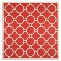 Safavieh Courtyard 7-Foot 10-Inch x 7-Foot 10-inch Jaelyn Indoor/Outdoor Rug in Red/Bone