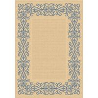 Safavieh Courtyard 6-Foot 7-Inch x 9-Foot 6-Inch Anna Indoor/Outdoor Rug in Natural/Blue