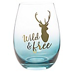 "Formations ""Wild and Free"" Stemless Wine Glass in Navy"