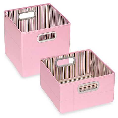 JJ Cole® Tall Striped Storage Box in Pink
