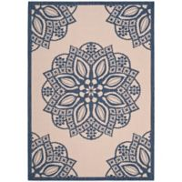Safavieh Courtyard 8-Foot x 11-Foot April Indoor/Outdoor Rug in Beige/Navy