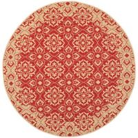 Safavieh Courtyard 7-Foot 10-Inch x 7-Foot 10-inch Aleah Indoor/Outdoor Rug in Red/Creme