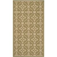 Safavieh Courtyard 2-Foot 7-Inch x 5-Foot Jimena Indoor/Outdoor Rug in Green/Creme