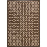 Safavieh Courtyard 6-Foot 7-Inch x 9-Foot 6-Inch Jimena Indoor/Outdoor Rug in Chocolate/Cream