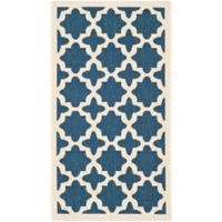 Safavieh Courtyard 2-Foot 7-Inch x 5-Foot Alani Indoor/Outdoor Rug in Navy/Beige