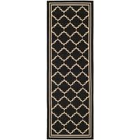 Safavieh Courtyard 2-Foot 3-Inch x 6-Foot 7-Inch Remi Indoor/Outdoor Rug in Black/Creme