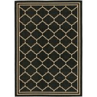 Safavieh Courtyard 4-Foot x 5-Foot 7-Inch Remi Indoor/Outdoor Rug in Black/Creme